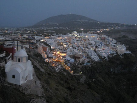 lights at dusk, Santorini