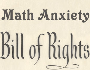 math anxiety bill of rights