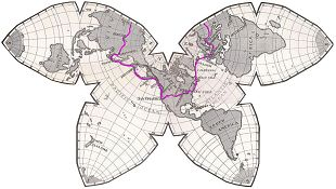Butterfly map simplified with circumaviation route shown