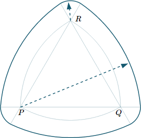Reuleaux Triangle - step 3, extend large and small arcs