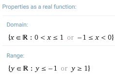 Wolfram|Alpha - properties of real sec(arccos(x))