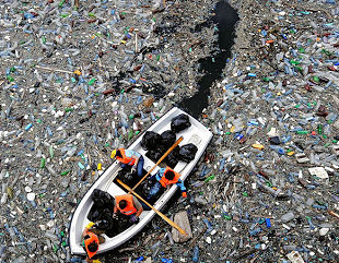 Plastic waste in river