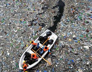 Plastic waste in river