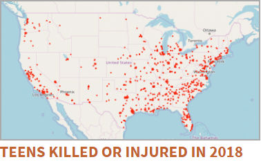 Teens killed or injured - gun violence