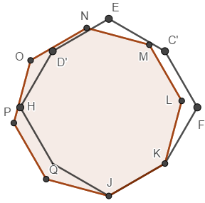 regular and irregular octagons superimposed