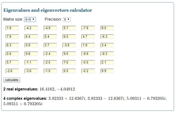 Eigenvalues and eigenvectors calculator